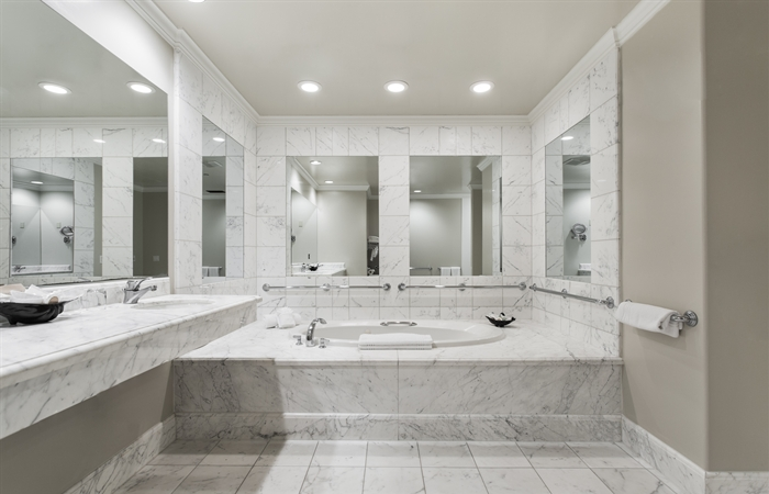 Luxury King Suite Deluxe Bathroom with Jacuzzi Tub at our santa barbara luxury hotel